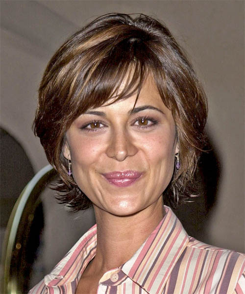 Catherine Bell Short Straight Casual Hairstyle - Medium Brunette Hair Color