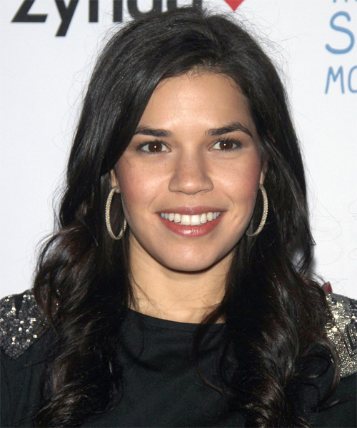 America Ferrera Long Wavy Casual Hairstyle - Black Hair Color