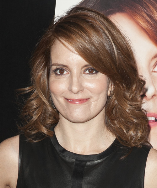 Tina Fey Medium Wavy Hairstyle - Medium Brunette (Chocolate)