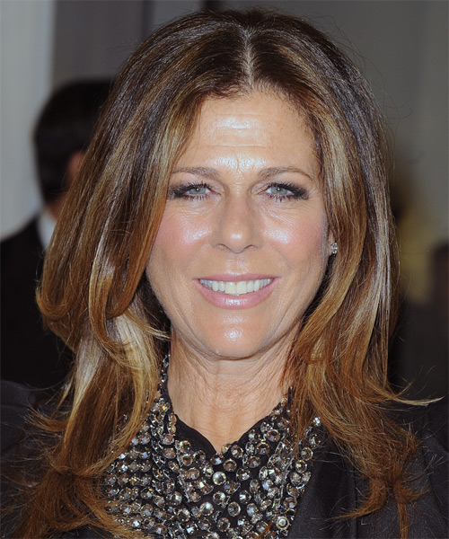 Rita Wilson Long Straight Casual Hairstyle - Medium Brunette (Auburn) Hair Color