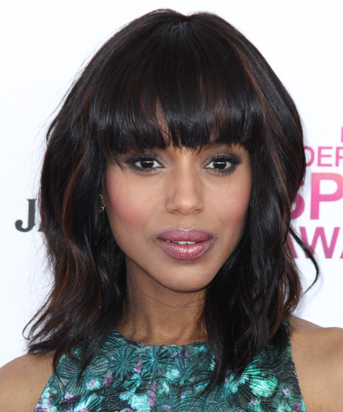 Kerry Washington Medium Wavy Casual Hairstyle with Blunt Cut Bangs - Dark Brunette Hair Color