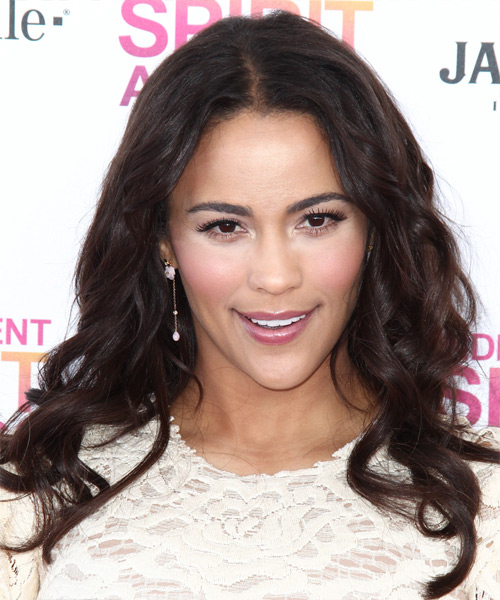 Paula Patton Long Wavy Hairstyle - Dark Brunette (Mocha)