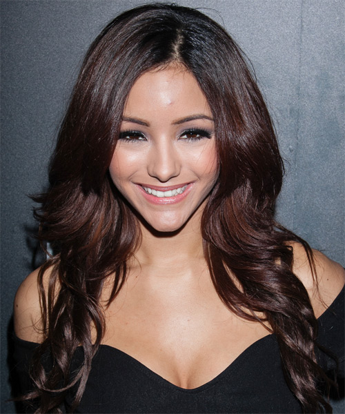 Melanie Iglesias Long Wavy Hairstyle - Dark Red (Burgundy)