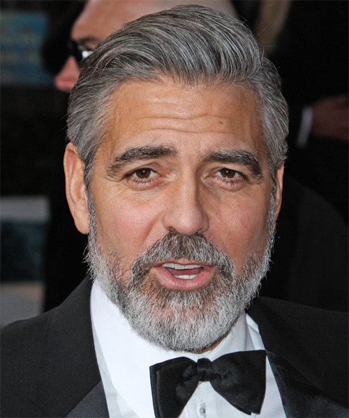 George Clooney Short Straight Hairstyle - Light Grey