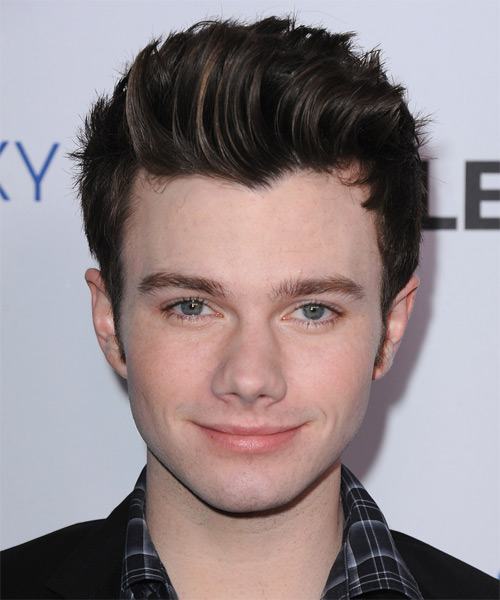 Chris Colfer Short Straight Casual Hairstyle - Dark Brunette (Mocha) Hair Color