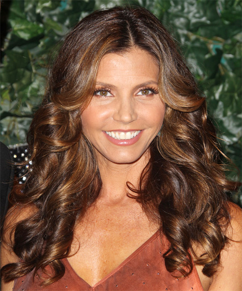 Charisma Carpenter Long Curly Hairstyle - Medium Brunette (Auburn)