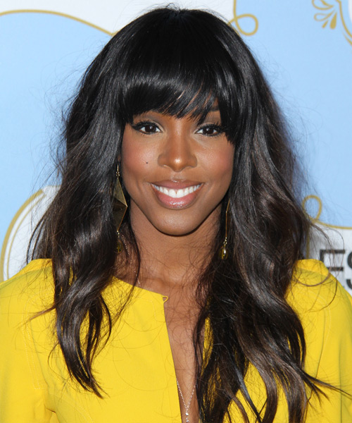 Kelly Rowland Long Wavy Casual Hairstyle with Blunt Cut Bangs - Dark Brunette Hair Color