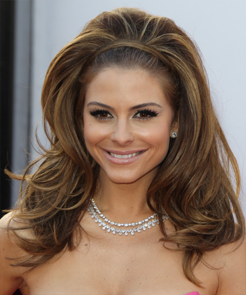 Maria Menounos Long Straight Hairstyle - Medium Brunette (Caramel)