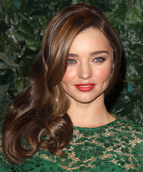 Miranda Kerr Long Straight Hairstyle - Dark Brunette