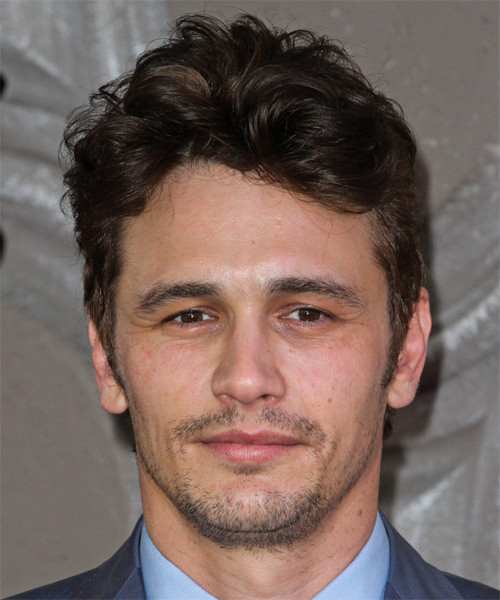 James Franco Short Wavy Casual Hairstyle - Medium Brunette (Chocolate) Hair Color