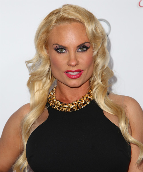 Coco Austin Long Wavy Formal Hairstyle - Light Blonde (Golden) Hair Color