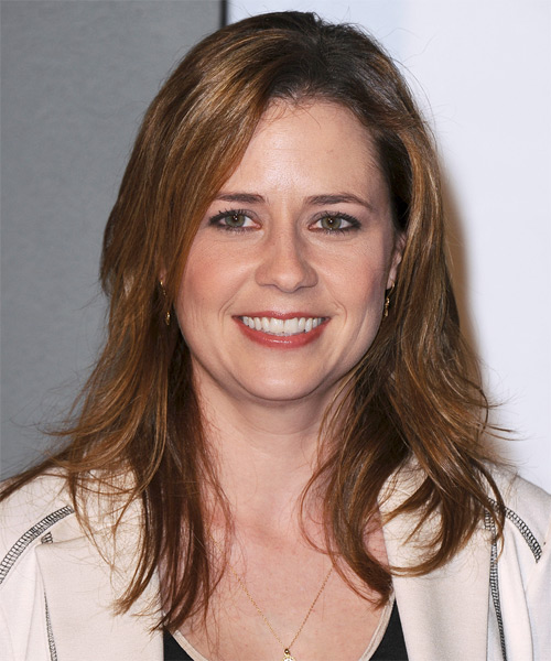 Jenna Fischer Long Straight Casual Hairstyle - Medium Brunette (Caramel) Hair Color