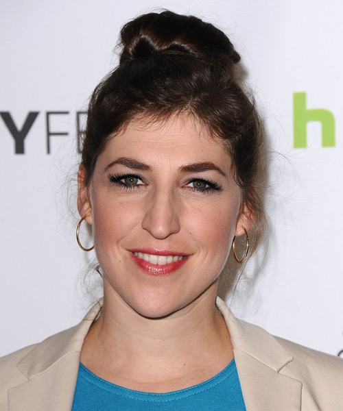 Mayim Bialik Straight Casual Updo Hairstyle - Dark Brunette Hair Color