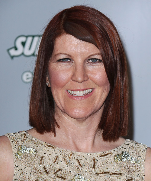 Kate Flannery Medium Straight Casual Hairstyle - Dark Red Hair Color