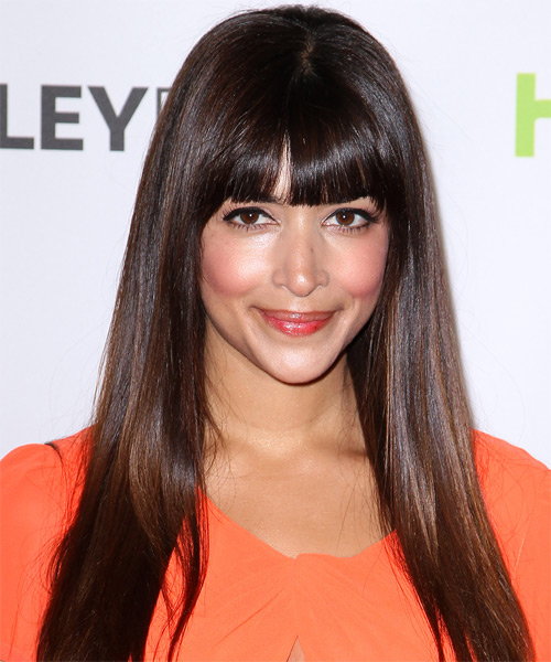Hannah Simone Long Straight Formal Hairstyle with Blunt Cut Bangs - Medium Brunette (Chocolate) Hair Color