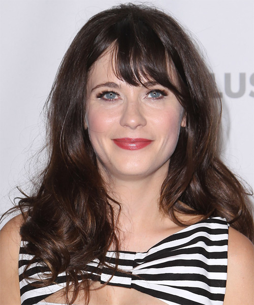 Zooey Deschanel Long Straight Casual Hairstyle - Dark Brunette (Chocolate) Hair Color