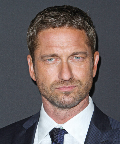 Gerard Butler Short Straight Hairstyle - Medium Brunette (Ash)