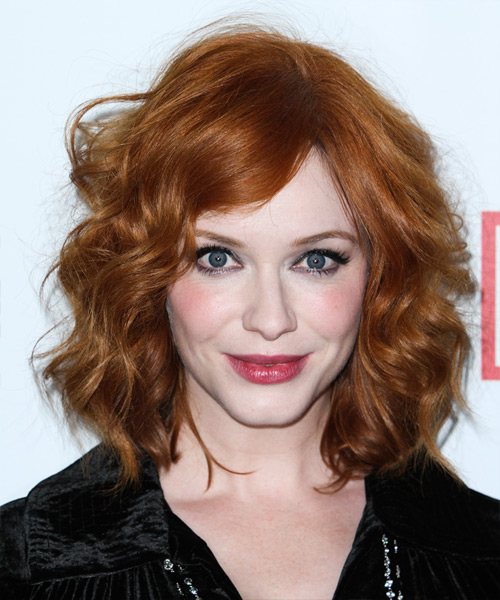 Christina Hendricks Medium Wavy Casual Hairstyle - Medium Red (Ginger) Hair Color