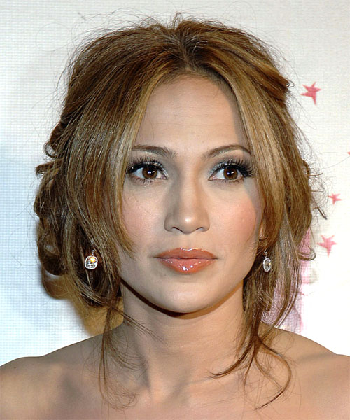 Jennifer Lopez Curly Casual Updo Hairstyle