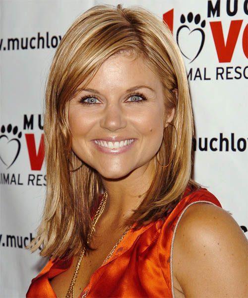 Tiffani Thiessen Long Straight Casual Hairstyle - Medium Blonde (Copper) Hair Color