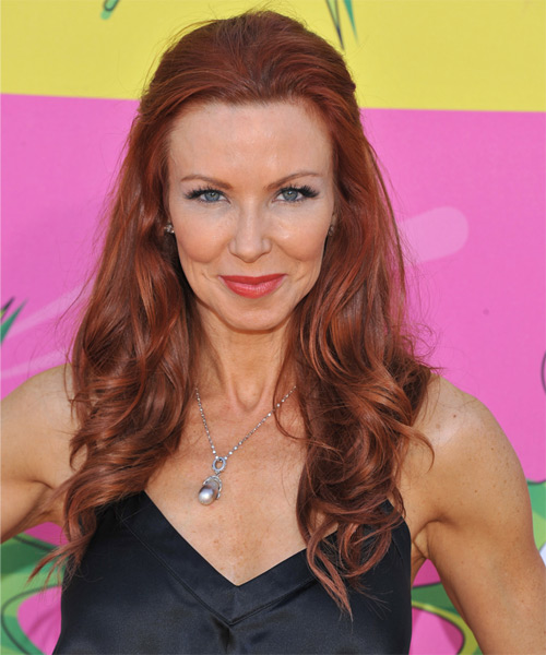 Challen Cates Half Up Long Curly Formal Half Up Hairstyle - Medium Red Hair Color