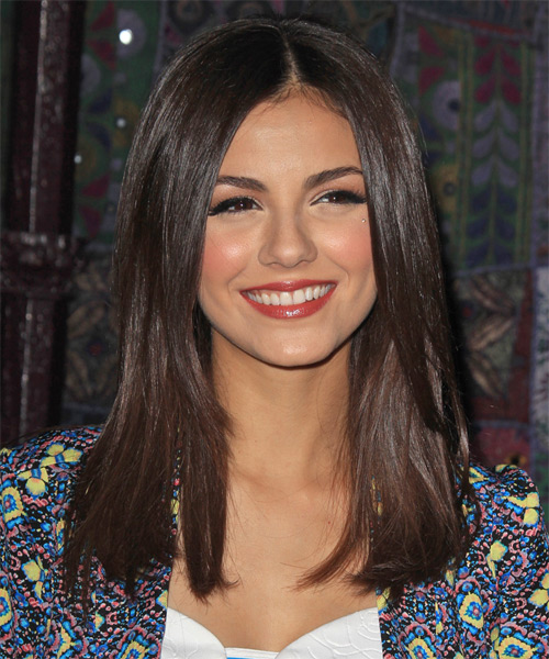 Victoria Justice Long Straight Casual Hairstyle - Dark Brunette (Chocolate) Hair Color