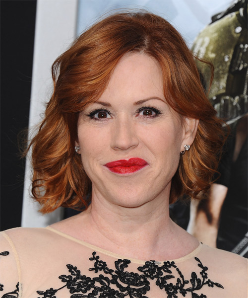 Molly Ringwald Short Wavy Hairstyle - Medium Red (Ginger)