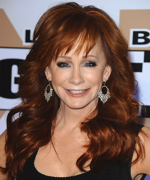 Reba McEntire Long Wavy Formal Hairstyle with Layered Bangs - Dark Red Hair Color
