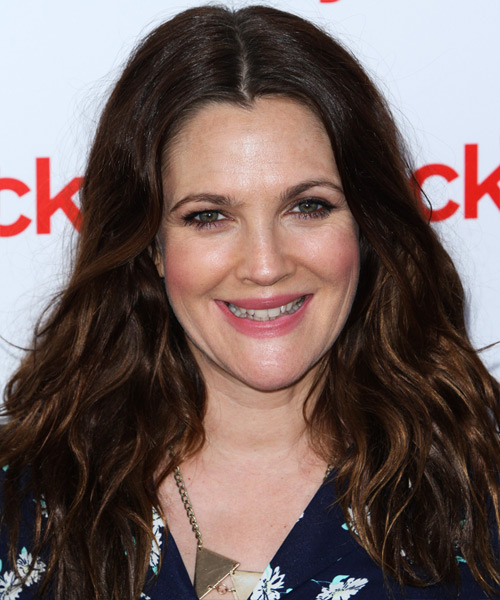 Drew Barrymore Long Wavy Casual Hairstyle - Dark Brunette Hair Color
