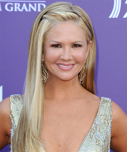 Nancy O Dell Long Straight Formal Hairstyle - Light Blonde Hair Color