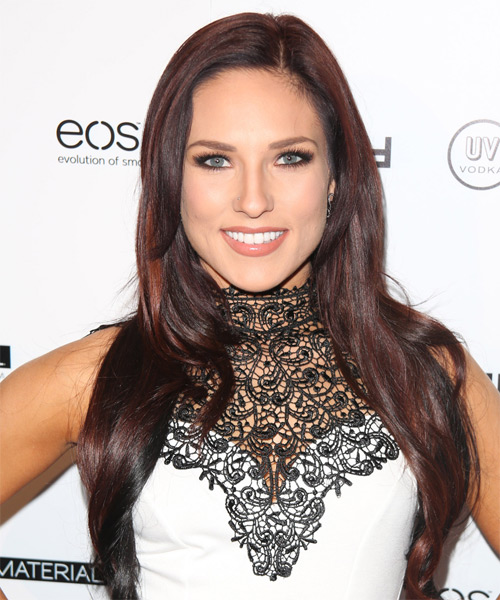 Sharna Burgess Long Straight Formal Hairstyle - Dark Red (Burgundy) Hair Color