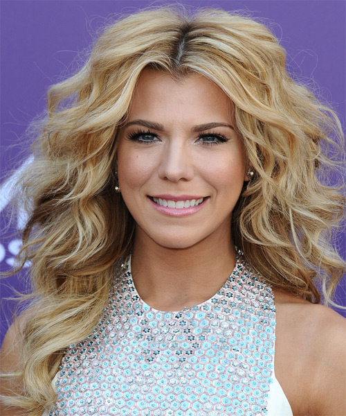Kimberly Perry Long Curly Casual Hairstyle - Medium Blonde (Golden) Hair Color