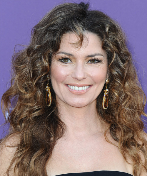 Shania Twain Long Curly Hairstyle - Dark Brunette