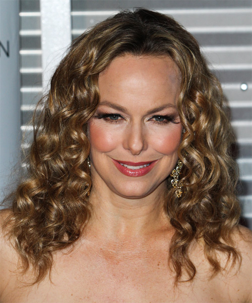 Melora Hardin Medium Curly Hairstyle - Dark Blonde (Golden)