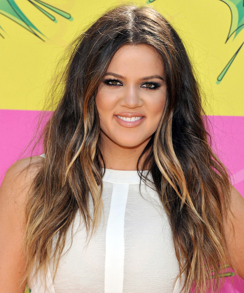 Khloe Kardashian Long Straight Casual Hairstyle - Dark Brunette Hair Color