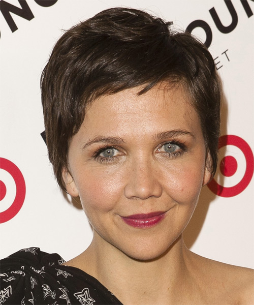 Maggie Gyllenhaal Short Straight Casual Hairstyle - Dark Brunette (Chocolate) Hair Color