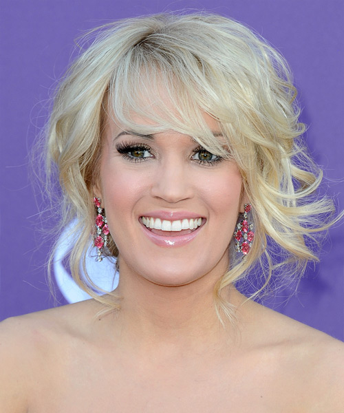 Carrie Underwood Curly Formal Updo Hairstyle with Side Swept Bangs - Light Blonde Hair Color
