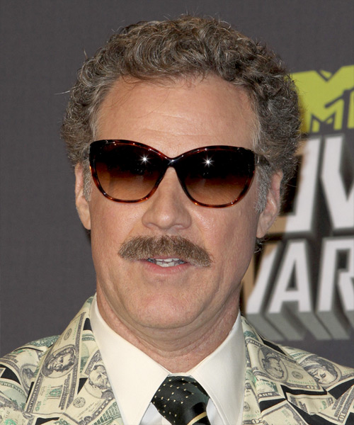 Will Ferrell Short Curly Casual Hairstyle - Medium Grey Hair Color