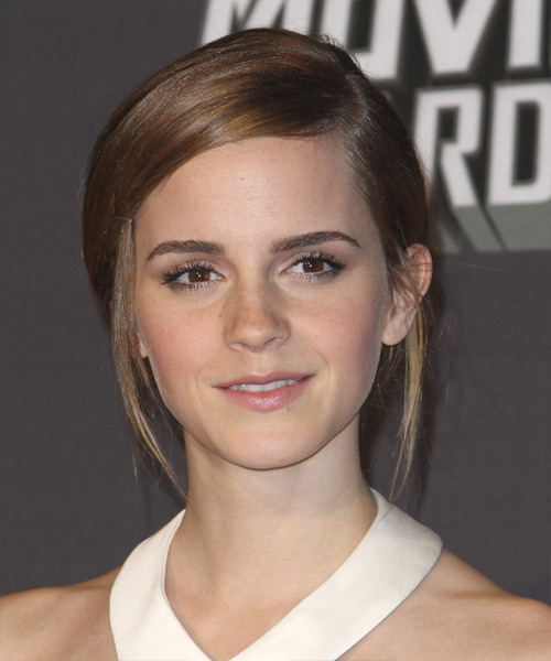 Emma Watson Updo Long Straight Casual Updo Hairstyle