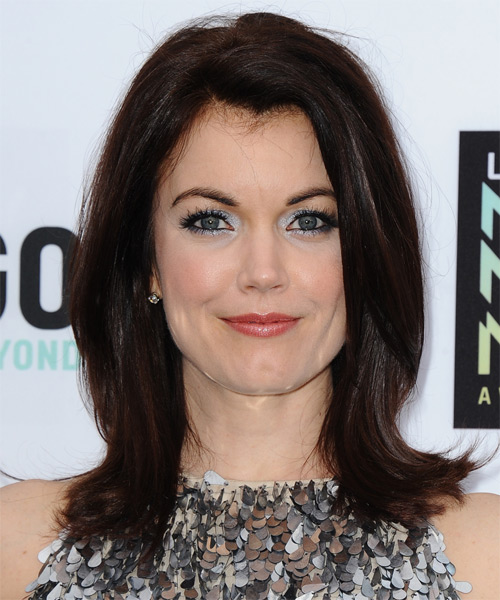Bellamy Young Medium Straight Formal Hairstyle - Dark Brunette (Mocha) Hair Color