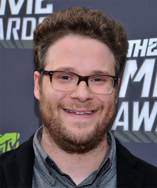 Seth Rogen Short Curly Casual Hairstyle - Medium Brunette Hair Color