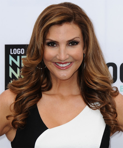 Heather McDonald Long Wavy Formal Hairstyle - Medium Brunette (Auburn) Hair Color
