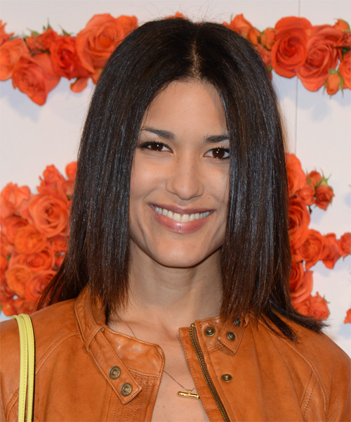 Julia Jones Medium Straight Casual Hairstyle - Medium Brunette Hair Color