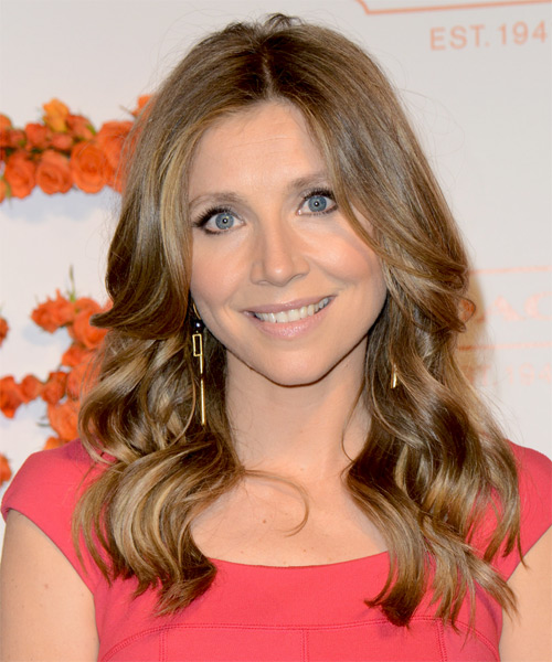 Sarah Chalke Long Wavy Casual Hairstyle - Medium Brunette (Chestnut) Hair Color