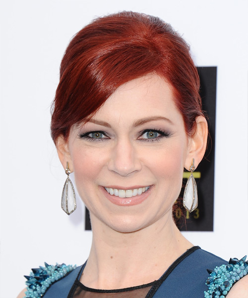 Carrie Preston Formal Straight Updo Hairstyle - Medium Red