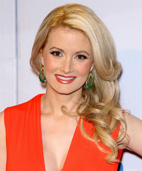 Holly Madison Long Wavy Formal Hairstyle - Light Blonde (Golden) Hair Color