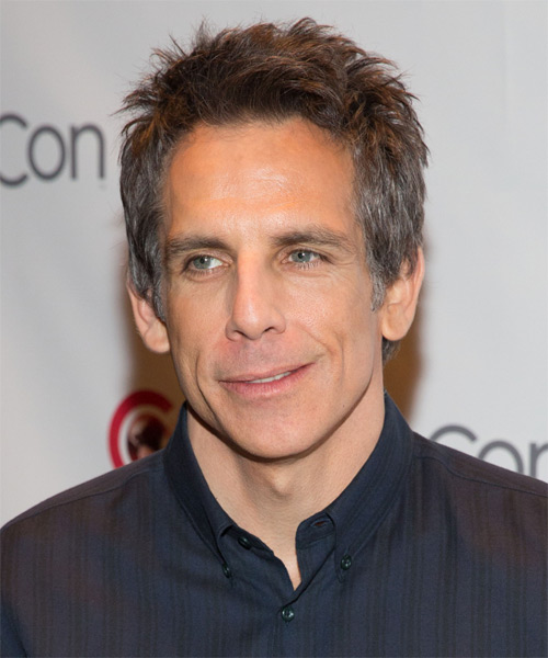 Ben Stiller Short Straight Hairstyle - Medium Brunette (Grey)
