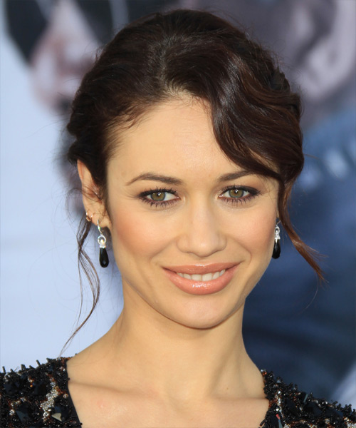 Olga Kurylenko Straight Casual Updo Hairstyle - Medium Brunette Hair Color