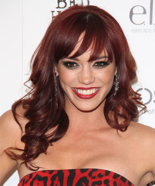 Jessica Sutta Long Wavy Formal Hairstyle with Side Swept Bangs - Medium Red Hair Color