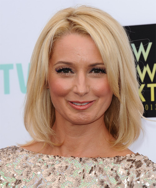 Katherine LaNasa Medium Straight Casual Hairstyle - Light Blonde Hair Color